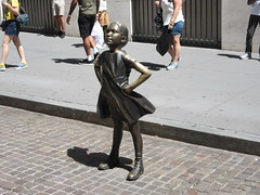 2019 Fearless Girl bronze sculpture Wall Street NYC 7260 (Brechtbug) Tags: 2019 fearless girl bronze sculpture by kristen visbal commissioned state street global advisors ssga the statue was installed march 7th 2017 anticipation international womens day depicting defiant four foot high located front new york stock exchange financial district manhattan city august 08102019 nyc young lady