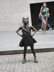 2019 Fearless Girl bronze sculpture Wall Street NYC 7277 (Brechtbug) Tags: 2019 fearless girl bronze sculpture by kristen visbal commissioned state street global advisors ssga the statue was installed march 7th 2017 anticipation international womens day depicting defiant four foot high located front new york stock exchange financial district manhattan city august 08102019 nyc young lady