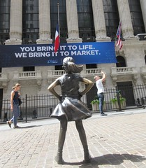 2019 Fearless Girl bronze sculpture Wall Street NYC 7269A (Brechtbug) Tags: 2019 fearless girl bronze sculpture by kristen visbal commissioned state street global advisors ssga the statue was installed march 7th 2017 anticipation international womens day depicting defiant four foot high located front new york stock exchange financial district manhattan city august 08102019 nyc young lady