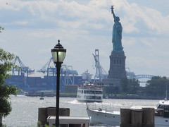 2019 Statue of Liberty with Ferry Boats Battery Park 7390 (Brechtbug) Tags: 2019 statue liberty ellis island view from battery park lower manhattan new york city winter 08102019 nyc 30 rock cityscape south skyline urban snow covered afternoon august summer summertime sculpture lighthouse french gift france building art arts birthday lady eiffel frederic auguste bartholdi