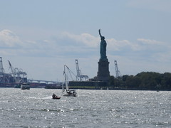 2019 Statue of Liberty with Sail Boat Battery Park 7420 (Brechtbug) Tags: 2019 statue liberty ellis island view from battery park lower manhattan new york city winter 08102019 nyc 30 rock cityscape south skyline urban snow covered afternoon august summer summertime sculpture lighthouse french gift france building art arts birthday lady eiffel frederic auguste bartholdi