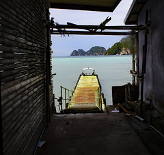 Dock in a frame (Laura A Long) Tags: kophiphi thailand ocean pacific islands dock boat