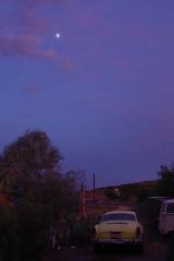 sunset and moon rise (EllenJo) Tags: pentaxks1 2019 august10 sunset arizona verdevalley clarkdale arizonaskies karmannghia volkswagen clarkdaleaz