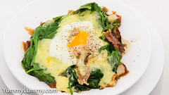 Fried speck, steamed egg, melted Coon™, and spinach (garydlum) Tags: cheese cooncheese egg eggs speck spinach canberra australiancapitalterritory australia