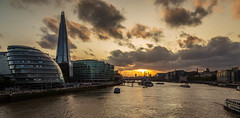 Looking down the Thames. (Ian Emerson (Thanks for all the comments and faves) Tags: london sunset theshard cityscape city capitalcity riverthames hmsbelfast haysgalleria clouds boats sightseeing tourism england architecture canon6d buildings tours outdoor evening