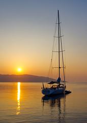 Back on an Even Keel (Mark Buchan Jones) Tags: agiaefimia kefalonia sunrise cephalonia yacht rigging mast anthos vessel agiaeffimia summer reflection ithaca harbour greece island dawn