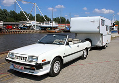 Topless Sapporo (Schwanzus_Longus) Tags: varel german germany japan japanese old classic vintage car vehicle cabrio cabriolet convertible topless camper camping trailer mitsubishi sapporo gsr