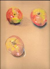 Apples (lwdphoto) Tags: lance duffin lanceduffin lancewadeduffin paint painting watercolor graphite drawing art sketch sketching apple honeycrisp mixedmedia pastel coloredpencil tonedpaper