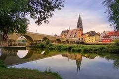 Regensburg (JossieK) Tags: bavaria stonebridge steinernebrücke cathedral dom danube donau donauinsel cityscape landscape arches refection unesco regensburg