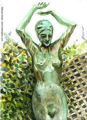 Rockport sculpture lady (Howie Green) Tags: rockport artists association cape anne plein air painting sketch watercolor lady sculpture art deco