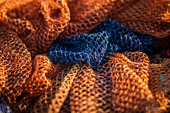 Colours of the captors (Through_Urizen) Tags: category erdek kapidag macroother places turkey sigma105mmmacro canon70d canon fishing nets fishingnets pattern repeatedpattern texture narrowdepthoffield dof narrowdof bokeh colourful