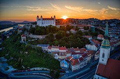 Bratislava Sunset (Brook-Ward) Tags: brook ward hdr bratislava slovakia sunset castle city cityscape architecture buildings europe travel vacation holiday aerial drone sky danbue river clouds beautiful