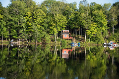 Reflecting Summer D7C_9859 (iloleo) Tags: ontario bobslake reflection summer cottage landscape boat nature nikon d750 scenic canada trees dock