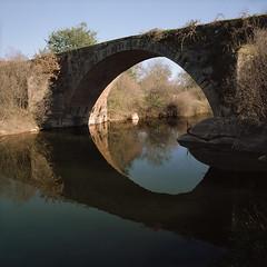 Bridge over quiet waters (lebre.jaime) Tags: portugal beira peroviseu bridge romanbridge river reflection analogic film120 6x6 squareformat mediumformat mf kodak portra160 iso125 hasselblad 500cm carlzeiss distagon cf3560 monopod epson v600 affinity affinityphoto