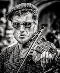 Shades, Fag & a Fiddle (Andy J Newman) Tags: bath monochrome music street bandw blackandwhite busker candid d500 musician nikon performer england unitedkingdom man young
