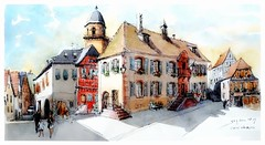 saint Hippolyte - Alsace - France (guymoll) Tags: sainthippolyte alsace france croquis sketch aquarelle watercolour watercolor aguarela acuarela village colombages timbered