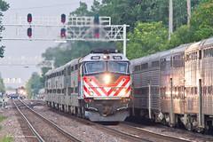 The Express (tim_1522) Tags: railroad railfanning rail illinois il metra bnsf burlingtonnorthernsantafe bn burlingtonnorthern racetrack chicago sub subdivision passenger commuter f40ph3 f40phm2