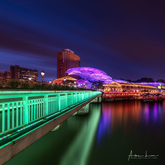 Malacca Bridge By Night II (Alec Lux) Tags: clarke malacca quay singapore architecture blue bluehour boat boats bridge building buildings canal city cityscape colorful colors exterior facade haida haidafilters lights longexposure night nightscape outdoor outside river skyline skyscraper tower urban water