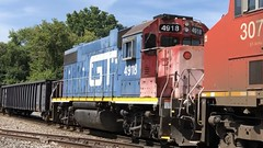 8/11/19 12:03 73 degrees at CN Charlotte as CN 3202 leads a 3 unit Train 396 past the old GTW depot and over the ChS junction switch. GTW  4918 Blue in the power mix makes for a nice treat!!😁 (NGfan) Tags: railroad train charlottemichigan charlotte cn gtw