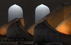 Jantar Mantar (HWHawerkamp) Tags: india jaipur dusk built structure architecture arch column city travel building cityscape jantarmantar lights