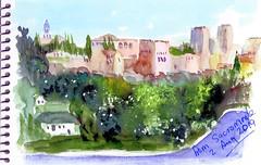 The Alhambra for Sacromonte (Dr Graham Beards) Tags: albaicin andalucia alhambra sacromonte darro granada spain alcazbar castle watercolour watercolor sketches