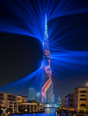 Mega Lasers for Mega Tower (DanielKHC) Tags: dubai burj khalifa laser show mall beams nikon d850 nikkor 19mm tilt shift digital blending