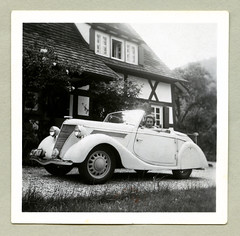 "Ford Eifel Cabriolet (Vintage Cars & People) Tags: white black classic cars car vintage photography photo automobile foto sw ""blackwhite"" auto ford antique eifel vehicle motor cabrio cabriolet gläser fordeifel karosseriegläser 1940s forties 40s woman house home lady drive driver"