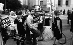 Lights for Liberty Rally - Foley Square (neilsonabeel) Tags: nikonn90s nikon nikkor blackandwhite protest film analogue newyorkcity