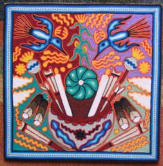 Huichol Yarn Painting Mexico Peyote (Teyacapan) Tags: peyote huichol wixarika mexico religion yarnpaintings birds candles offerings artesanias crafts