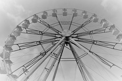 Round and Round (The Happy Snapping Dog Walker) Tags: canon80d eos efslens ferris wheel ferriswheel bigwheel amusements blackandwhite