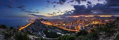 Alicante (FH | Photography) Tags: alicante spain panorama bluehour costa blanca pano city stadt abends beleuchtet aussicht tourismus burg castillo de santa bárbara benacantil mittelmeer küste berge berg hafen wolken sonnenuntergang sunset spanien espana europa wahrzeichen häuser wohnen life licht