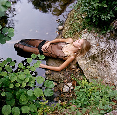 """On the last day I took her where the wild roses grow. And she lay on the bank, the wind light as a thief. And I kissed her goodbye, said, ""All beauty must die""…"" (lizardking_cda) Tags: hasselblad medium moyen format film analog kodak portra 400 portrait model beautiful belle woman femme fille girl blonde teen ado fashion fine art sexy wild sauvage glamour summer été bois wood river rivière forest forêt wet mouillée lolita arbre tree village biot valbonne brague photoshoot shooting lingerie lace dentelle argentique mood melancholy mélancolie love amour romantique romantic french riviera côte azur sad triste tristesse sadness eoshe chercherlafemme filmisnotdead ophelia drowning noyade murder ballad naked"