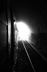 Light at the end of the tunnel (daveseargeant) Tags: monochrome north yorkshire grosmont whitby nymr railway steam train tunnel white black blackwhite leica x typ 113 tracks