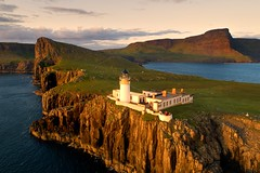 Sunset at Neist Point lighthouse (iancowe) Tags: sunset stevenson lighthouse david alan westerly western skye hebrides isle tip scotland scottish neist point nlb northern board glendale clear night inner evening dji phantom 4 pro aerial drone neistpoint northernlighthouseboard isleofskye
