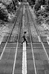 Crossing Over (EightBitTony) Tags: railwaytracks traintracks towncentre derbyshire streetphotography longeaton town male urban canon7d2 august blackandwhite railway person 2019 uk railwaycrossing bw blackwhite canon canon7dmarkii canon7dmark2 canon7dmk2 canon7dii canondslr canoneos canoneos7dmarkii canoneos7d2 canoneos7dii mono monochrome nottingham england unitedkingdom