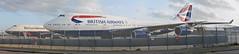 Heritage. (A380spotter) Tags: photomerge panorama boeing 747 400 gcivr toflytoserve emblem achievement crest coatofarms gbnly cityofswansea landor19841997 landorassociates britishairways10019192019 centenary retrocolours livery scheme retrojet 2019 ba100 baretrojet internationalconsolidatedairlinesgroupsa iag britishairways baw ba britishairwaysengineering westbase bealinebase maintenancebase london heathrow egll lhr