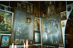 Chapel (domna.willgren) Tags: orthodox religion chapel candle fire greece disposable film 35mm camera kodak funsaver