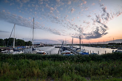 Evening in De Haukes (Julysha) Tags: dehaukes sunset harbour thenetherlands noordholland summer august boats acr sky clouds evening d810 nikkor1635vr 2019 tiffenhtndgrad grass lake