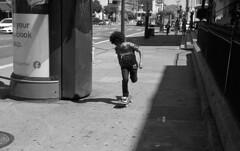 Fly (bingley0522) Tags: leicaiiic zeissjenasonnar50mmf15ltm trix hc110h epsonv500scanner sanfrancisco missionstreet skateboarder sidewalk autaut