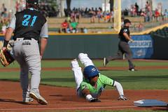 Mejia sliding into 3rd (Minda Haas Kuhlmann) Tags: sports baseball milb minorleaguebaseball pacificcoastleague omahastormchasers omaha nebraska papillion sarpycounty outdoors cazadoresdetormentas erickmejia
