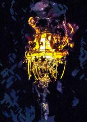 The Bone Chandelier (Steve Taylor (Photography)) Tags: bones chandelier lamp digitalart black mauve purple yellow white strange weird metal uk gb england greatbritain unitedkingdom london contrast viktorwyndmuseum