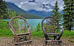 Emerald Lake at the end of June (manoni81) Tags: mountains lakes landscapes chairs emeraldlake canadianlakes canada rockymountains therockies june weather