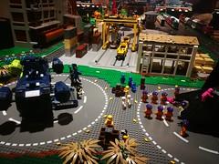 Bricks in the six - Train display - Lumber Yard smugglers space port.