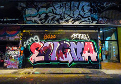 To the Journey to Enigma (Steve Taylor (Photography)) Tags: tothejourney enigma amg bops graffiti streetart tag colourful uk gb england greatbritain unitedkingdom london leakestreet shutter tunnel passage