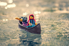 Down the river (Ballou34) Tags: 2019 7dmark2 7dmarkii 7d2 7dii afol ballou34 canon canon7dmarkii canon7dii eos eos7dmarkii eos7d2 eos7dii flickr lego legographer legography minifigures photography stuckinplastic toy toyphotography toys stuck in plastic little red riding hood wolf river boat water canoe