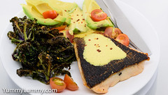 Pan-fried salmon with crispy kale sprouts, cherry tomatoes, avocado cheeks, and Tabasco Hollandaise sauce (garydlum) Tags: avocado chilliflakes chillies hollandaisesauce kalesprouts salmon tomatoes canberra australiancapitalterritory australia