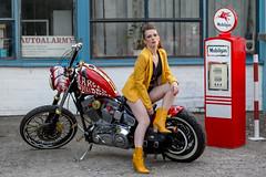 I need more gas (piotr_szymanek) Tags: aneta anetaz woman young skiny portrait outdoor face eyesoncamera shords harleydavidson bike legs yellow red 1k 20f 50f 5k 10k 100f 20k