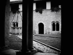 GFX1738 - Abbey of Casamari (Diego Rosato) Tags: abbey abbazia monastero monastery court cortile colonna column finestra window pozzo well bianconero blackwhite fuji gfx50r fujinon gf63mm rawtherapee