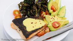 Pan-fried salmon with crispy kale sprouts, cherry tomatoes, avocado cheeks, and Tabasco Hollandaise sauce (garydlum) Tags: avocado chilliflakes chillies hollandaisesauce kalesprouts salmon tomatoes canberra australiancapitalterritory australia