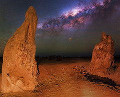 Milky Way at The Pinnacles Desert, Western Australia (inefekt69) Tags: pinnacles desert nambung national park panorama stitched mosaic ms ice milky way cosmology southern hemisphere cosmos western australia dslr long exposure rural night photography nikon stars astronomy space galaxy astrophotography outdoor core great rift ancient sky 35mm d5500 landscape nikkor prime lens ioptron skytracker